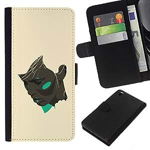 KLONGSHOP // Tirón de la caja Cartera de cuero con ranuras para tarjetas - Chica Negro amarillo del trullo Artista Pintura - HTC DESIRE 816 //