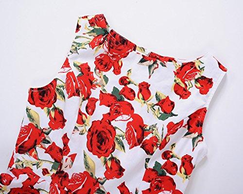 Aecibzo Sans Manches Boatneck Femmes Chic Robe De Thé Floral Vintage Avec Floral-5 Ceinture
