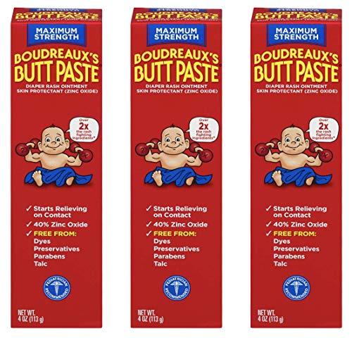 Boudreaux's Butt Paste Diaper Rash Ointment | Maximum Strength | 4 Oz | Pack of 3 ()