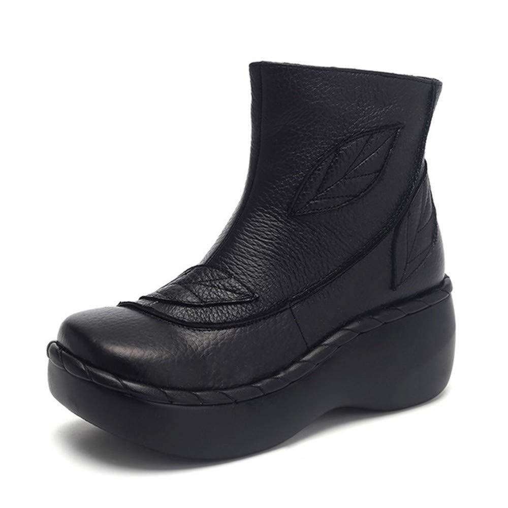 PINGXIANNV Leder Frauen Stiefel Herbst Mode Nähen Dicke Sohle Stiefel Mit Plattform Frauen Knöchelschuhe