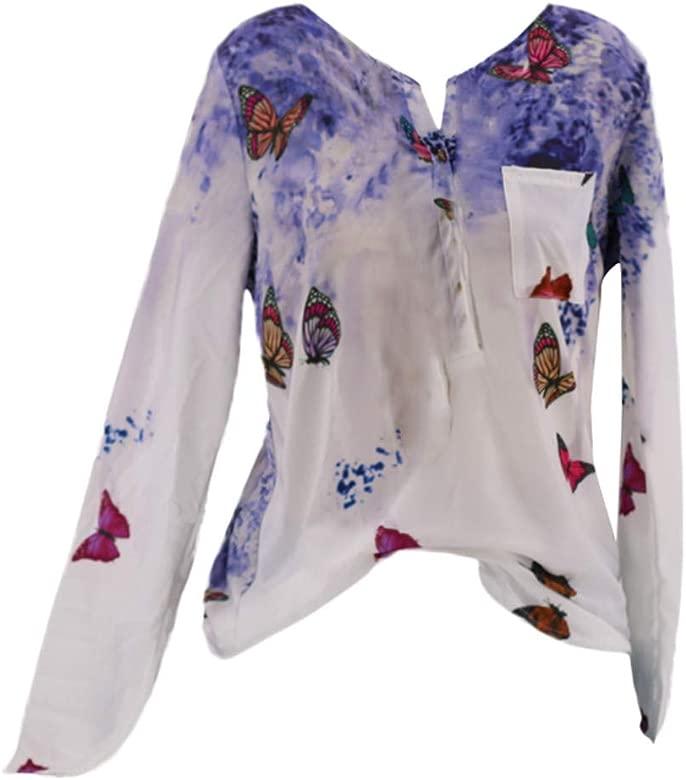 Levifun Mujeres Manga Larga Casual Superior De Blusas Camiseta de Mujer Manga Largas Sudadera de Fiesta,Sólido Mariposa Impresión Manga Larga Oferta ...