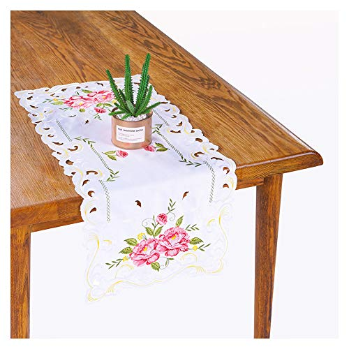 Bone & Tissue Embroidered Table Runner, 4 Pcs White Dresser Scarf with Flower Embroidery and Hollow Out Design, 15 x 34 Inch