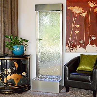 "72"" X 24"" Standing Waterfall Clear Glass ,Stainless Steel Frame by JERSEY HOME DECOR"