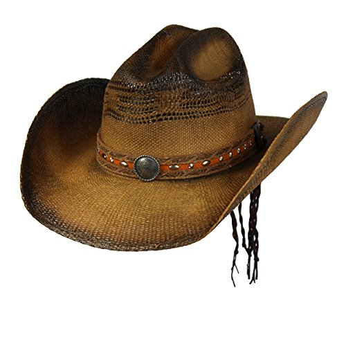 Saddleback Hats Brown Shapeable Bangora Straw Cowboy Western Hat w/Concho Studs