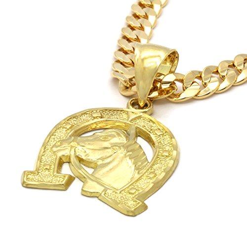 (L & L Nation 14k Gold Plated on Brass Hip Hop Horse Shoe Pendant w/6mm 24