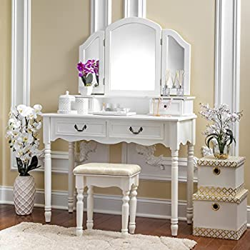 fineboard three mirror vanity dressing table set with stool single drawer makeup. Black Bedroom Furniture Sets. Home Design Ideas