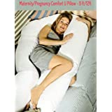 Maternity Comfort U/V Body Pillow 9ft & Cream Case - Pregnancy Nursing Support