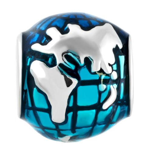 Q&Locket Blue Earth Charm Bead For Bracelet