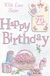 Amazon with love sister happy 70th birthday card office products with love sister happy 70th birthday card bookmarktalkfo Choice Image