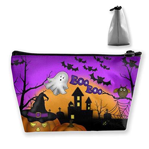 Penilatuy Womens Cosmetic Bag Halloween Owl Ghost Pumpkin Multifunction Makeup Portable Pouch Handbag Receive Bag,Trapezoid -
