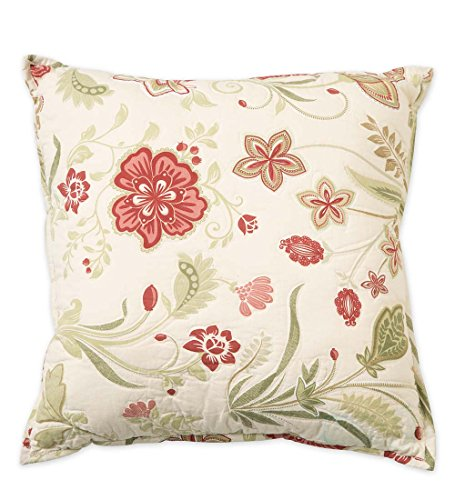 (Plow & Hearth 91921 Jacobean Vine Quilted Throw Pillow, 16'' sq.)