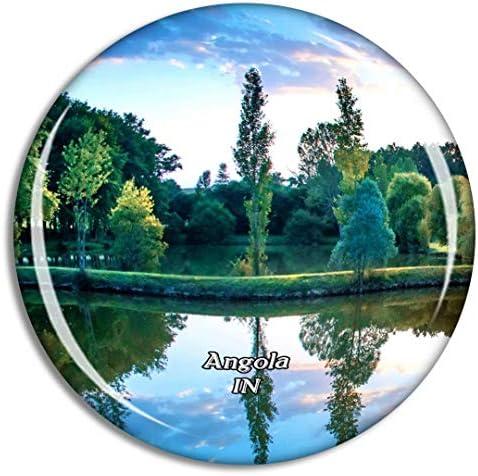 アンゴラパークインディアナ米国冷蔵庫マグネット3Dクリスタルガラス観光都市旅行お土産コレクションギフト強い冷蔵庫ステッカー