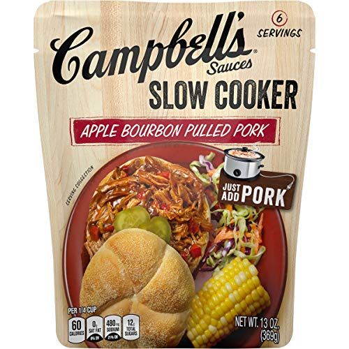 (Campbell's Slow Cooker Sauces Apple Bourbon Pulled Pork, 13 oz. Pouch (Pack of 6))