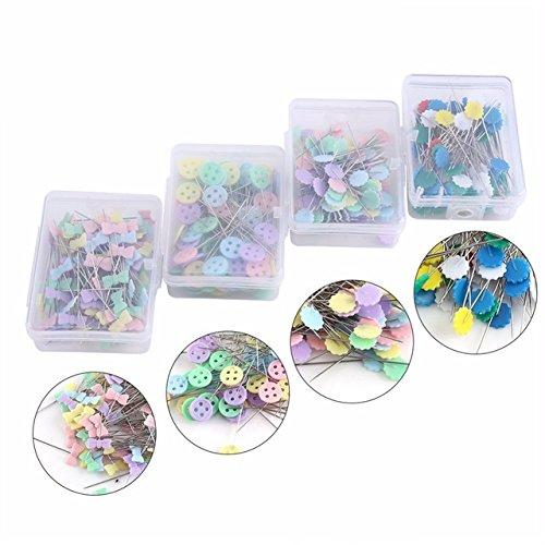 YICBOR 100Pcs/Box Sewing Accessories Patchwork Pins Flower Pins(4box) Sewing Tool Needle by YICBOR