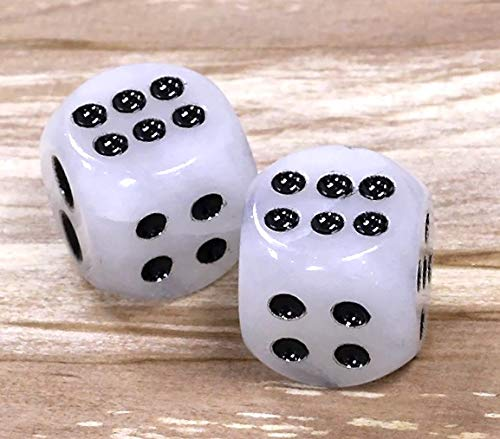 [ABCgems] Rare African White Jade 12mm Hand-Carved Dice Beads- Exquisite Craftsmanship (Total: 2 Dices Wholesale Lot- Undrilled)
