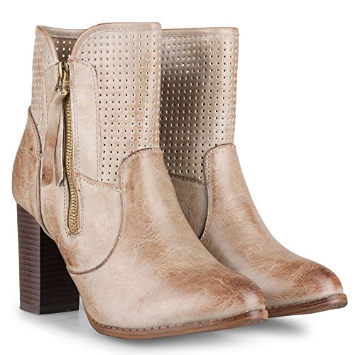 High Women's Twisted Gina Perferated Heel Boot Taupe Ankle q4BUtfpw