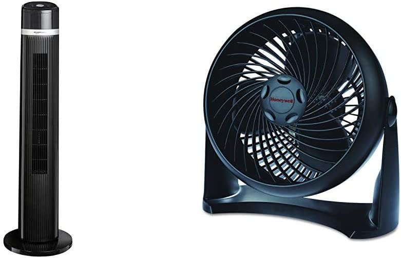 AmazonBasics Oscillating 3 Speed Tower Fan with Remote & Honeywell HT-900 TurboForce Air Circulator Fan Black