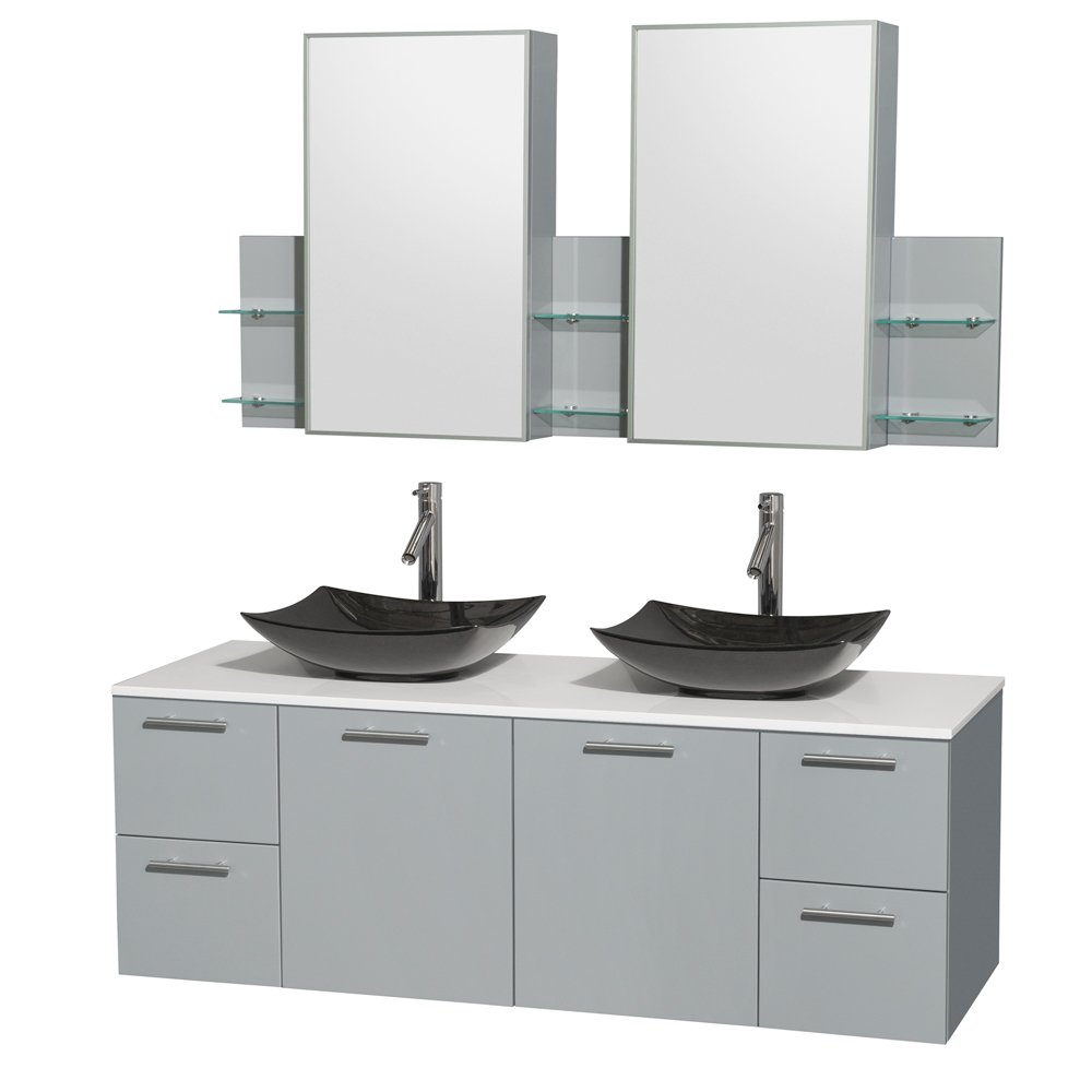 Wyndham Collection Amare 60 inch Double Bathroom Vanity in Dove Gray, White Man-Made Stone Countertop, Arista Black Granite Sinks, and Medicine Cabinet