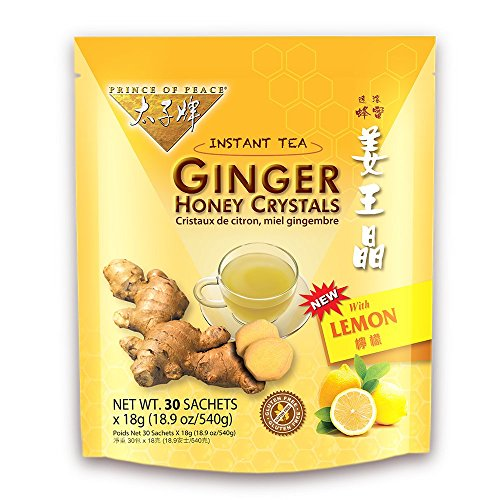 PRINCE OF PEACE Ginger Honey Crystals withlemon 30 Bag, 0.02 - Instant Tea Ginger Crystal Honey