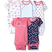 Gerber Baby Girls 5 Pack Onesies, Princess, 6-9 Months