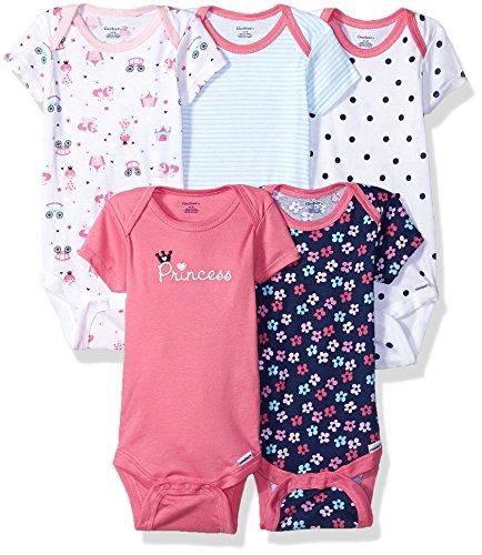 - Gerber Baby Girls' 5-Pack Variety Onesies Bodysuits, Pink Princess, 6-9 Months