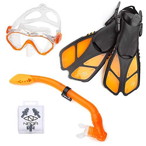 NAGA Sports Kids Snorkel Set with Dry Top Snorkel, Single Lens Mask, Trek Fins, Mesh Bag - XS/XXS Orange - Orange Fin