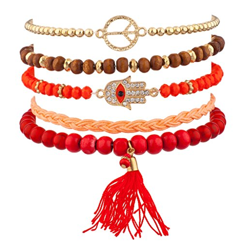 [Lux Accessories Orange Red Pave Hamsa Evil Eye Peace Sign Love Tassel Arm Candy Bracelet Set] (Arm Candy Costume)
