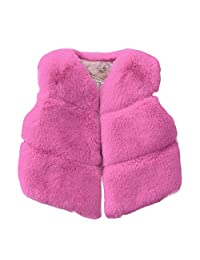Missbee Little Girls' Faux Fur Vest Winter Warm Outerwear Waistcoat Sleeveless Jacket Coat Spring, Autumn, Winter for Toddler Kids 3-8