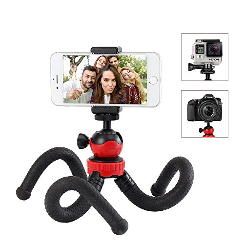 Phone Tripod, Moreslan Flexible Camera Tripod for Gopro, SLR Camera, Canon, Nikon, 360 Ball Head Mini Portable Travel Tripod Octopus Stand with Camera Cell Phone Mount Holder for iPhone/Android Phone by Moreslan
