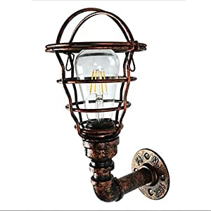 Wall Lamp Iron Art Retro Industrial Wind Water Pipe Single Head Cafe Restaurant Bar Balcony Corridor Decorative E27 25 * 14Cm Hiso