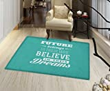 Motivational Rugs for Bedroom Hipster Letters Saying Advice Believe in Your Dreams Have Faith in Yourself Door Mat Increase 24''x48'' Teal White