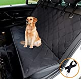 HANTAJANSS Pet Dog Car Seat Cover Non-Slip Rubber Backing Waterproof Travel Hammock Seat Covers with Adjustable Pet Car Seat Belt - Universal for All Cars Back Seat