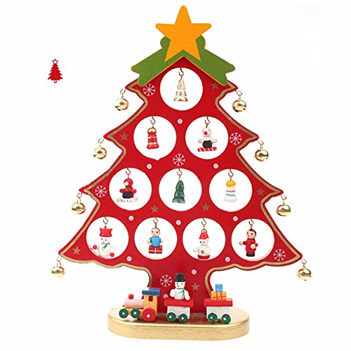 German style 11inch Wooden DIY Christmas Tree for desk Tabletop with Small Decorative Accessories - Decorations German Christmas Tree