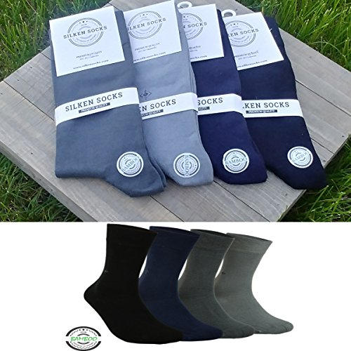 Mens Natural BAMBOO SOCKS - 4 Pair, Antibacterial, Scented, Cashmere Touch ()