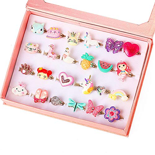 PinkSheep Little Girl Jewel Rings in Box, Adjustable, No Duplication, Girl Pretend Play and Dress Up Rings (24 Bling Bling Ring)