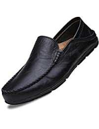 Lapens Men's Driving Shoes Premium Genuine Leather Fashion Slipper Casual Slip On Loafers Shoes