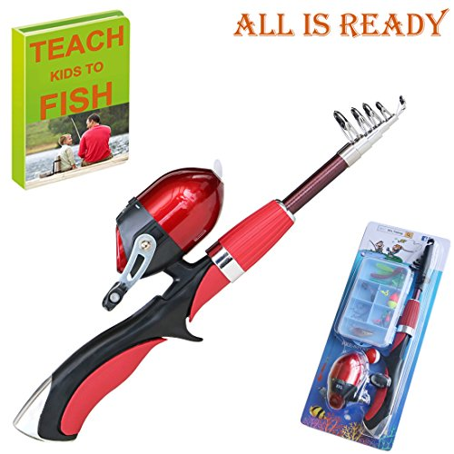 Kids Fishing Pole 55 inches Light Weight Durable Spincast Beginner Fishing...