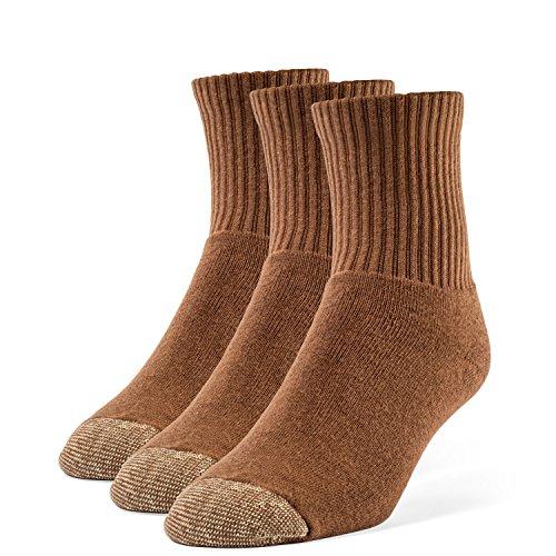 Galiva Men's Cotton Extra Soft Quarter Cushion Socks - 3 Pairs, Small, Brown