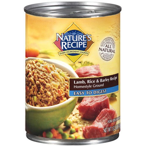 Nature's Recipe Canned Dog Food for Adult Dog, Easy to Digest Lamb, Rice, and Barley Recipe, Homestyle Ground, 13.2 Ounce Cans (Pack of 12)