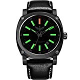 YELANG v3.3 Plus Super Bright Tritium Gas Green Luminous Sapphire Glass Black Leather Strap Titanium Alloy Case Men Watch