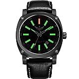 YELANG v3.3 Plus Super Bright Tritium Gas Green Luminous Sapphire Glass Black Leather Strap Titanium Alloy Case Men Watch