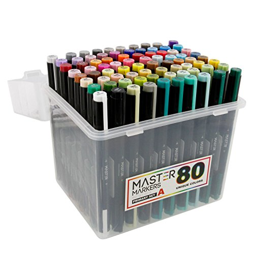 80 Color Master Markers Permanent Professional Dual Tip Alcohol Double-Ended Art Markers with Chisel Point and Brush Tip - Soft Grip Barrels, Includes: Plastic Storage Case