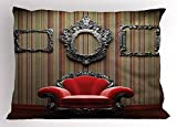 Ambesonne Antique Pillow Sham, Wall and Chair Vintage Picture Frame Vertical Striped Background Timber Floor Image, Decorative Standard King Size Printed Pillowcase, 36 X 20 inches, Multicolor