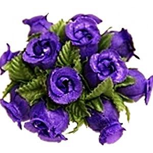 144 Poly Rose Silk Favor Flower Pick Wedding Shower - Purple 25
