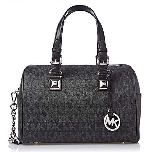 Michael Kors Grayson Medium Chain Signature Satchel (Black with Silver Hardware)