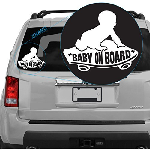 Baby on Board Boy Featured on Vans Skateboard Decal Sticker (White) (Sku: 303white6w)) (Stickers Vans Snowboard)