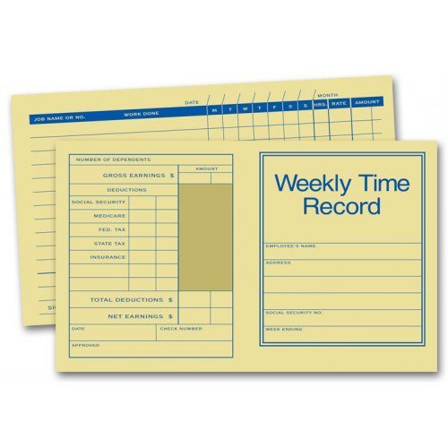 Weekly Time Record Cards -