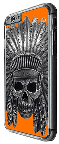 1477 - Cool Fun Trendy skeleton indian headrest walking dead scary skull tattoo biker skull Design iphone 6 Plus / iphone 6 Plus S 5.5'' Coque Fashion Trend Case Coque Protection Cover plastique et mé