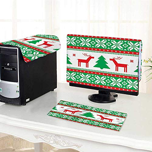 """Computer Three-Piece dust Cover Knit Style Graphic Rein Star Snowf Holiday Season Protect Your Computer /29"""""""