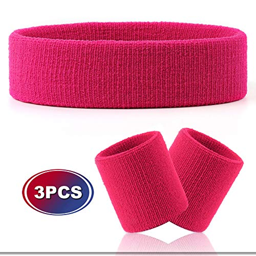 Hoter Sweatband Set Sports Headband Wristband Set Sweatbands Terry Cloth Wristband Athletic Exercise Basketball Wrist Sweatband and Headbands Moisture Wicking Sweat Absorbing Head -